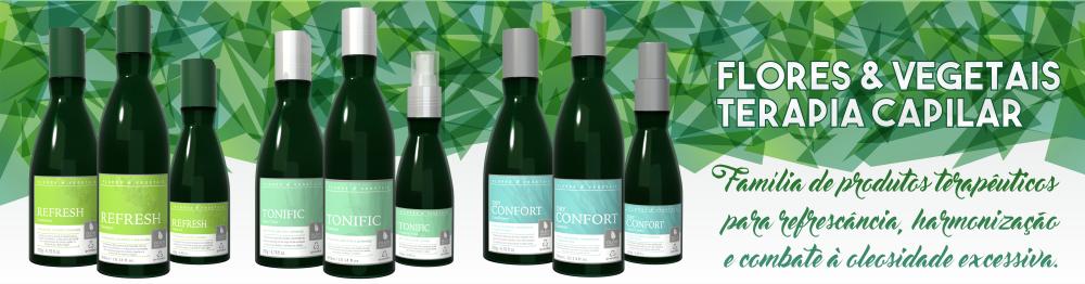 Linha Flores & Vegetais, terapia capilar com foco em fitoterapia e aromaterapia, para um tratamento holístico de todo o sistema capilar. Inovação cosmética no Brasil.