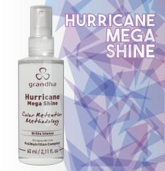 Hurricane Mega Shine é um finalizador da Grandha que dá brilho intenso para cabelos coloridos.