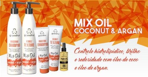 Produtos cosméticos Grandha. Kit Mix Oil Coconut & Argan da Grandha com óleos de coco e argan para hidratação profunda, mas com leveza e toque aveludado.