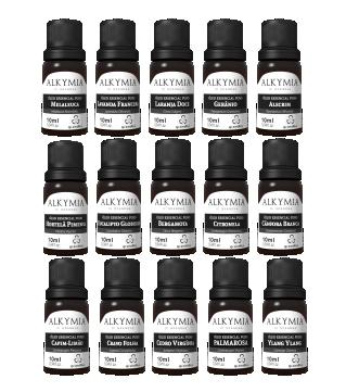 Alkymia di Grandha, óleos essenciais, óleos vegetais e argilas terapêuticas. Argila verde, argila preta, argila branca, óleo vegetal e óleo essencial para terapia capilar e craniofacial.