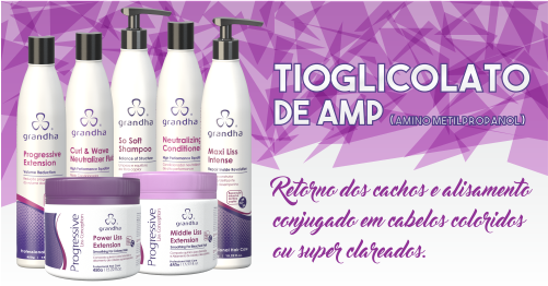 Produtos cosméticos Grandha. Tioglicolato de AMP, usado na Desintoxicação Capilar e na Redução de Volume da Grandha.