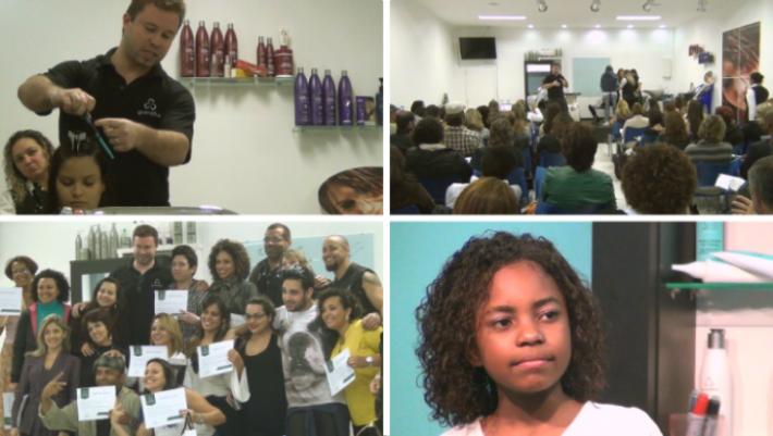 Celso Martins Junior em curso de visagismo e cosmetologia na sede da Grandha.