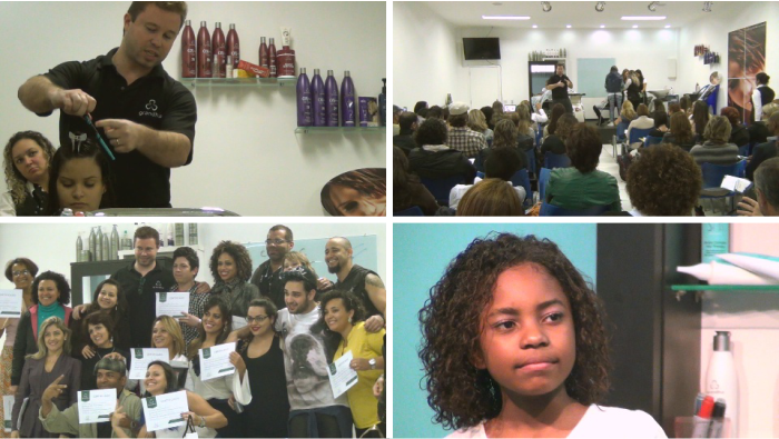 Celso Martins Junior durante teorização e aplicação da Desintoxicação Capilar; resultados fantásticos em cabelos comprometidos.