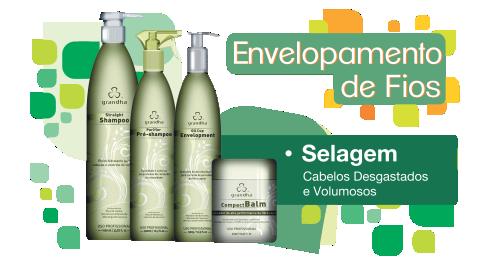 Produtos cosméticos Grandha. Envelopamento de Fios Grandha , selagem para cabelos desgastados e volumosos.