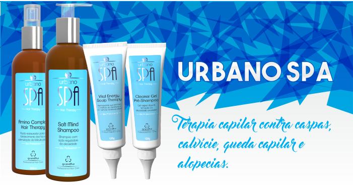 Produtos cosméticos Grandha. Urbano Spa, terapia capilar para calvície e crescimento de cabelo da Grandha.