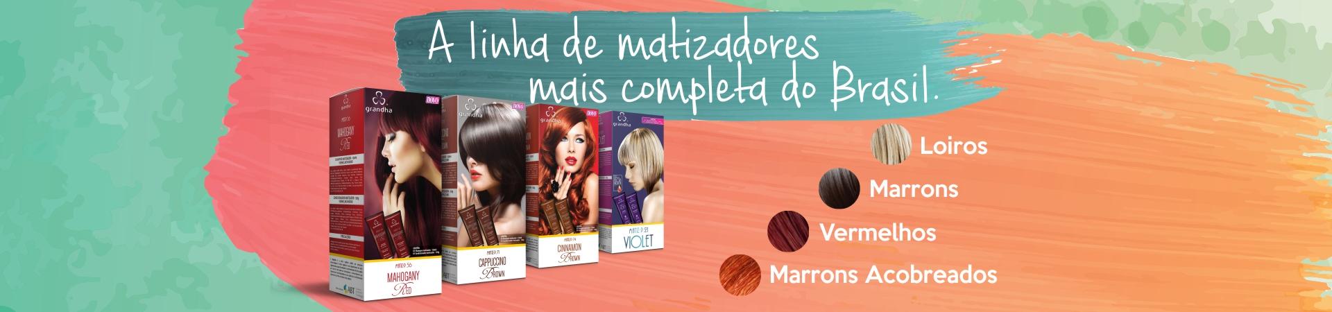 Matizadores Grandha, a linha de matizador mais completa do Brasil. Matiza cabelo loiro, vermelho, marrom e castanho (marrom acobreado). Os únicos com reflexo composto.