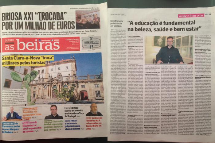 Amostra impressa do Diário As Beiras de Coimbra, Portugal, a respeito de Celso Martins Junior da Grandha.