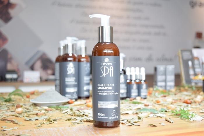 Black Pearl Shampoo Urbano Spa Black. Grandha Hair Therapy, lançamento em 12/03/2018, no Centro Técnico Mart'bel.