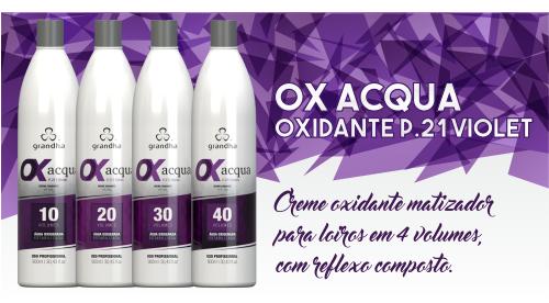 Produtos cosméticos Grandha. Ox Acqua P.21 Violet da Grandha, creme oxidante, conhecido como oxigenada para coloração e tintura profissional, com propriedades de matização.