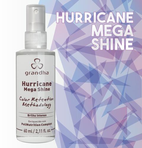 Hurricane Mega Shine é um finalizador da Grandha que deixa o cabelo com brilho e toque seco. Excelente para o cabelo colorido.