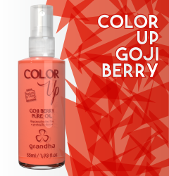 Color Up Goji Berry Pure Oil é um finalizador específico para a preservação da cor em cabelos tingidos.