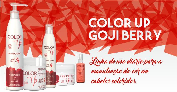 Color Up Goji Berry da Grandha, tratamento para aumento do brilho e proteção da cor em cabelo colorido e cabelo tingido.