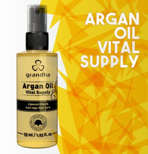 Finalizador da Grandha à base de óleo de argan para hidratação profunda e toque aveludado.