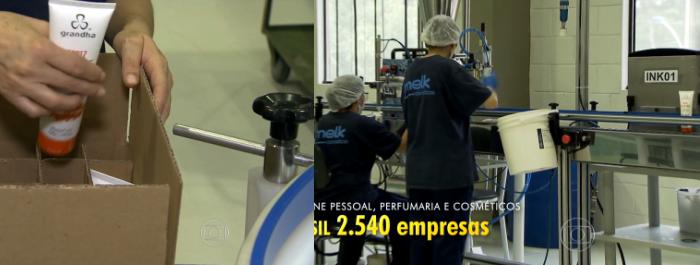 Produção do Mix Oil Coconut & Argan da Grandha no Bom Dia Brasil da Rede Globo.