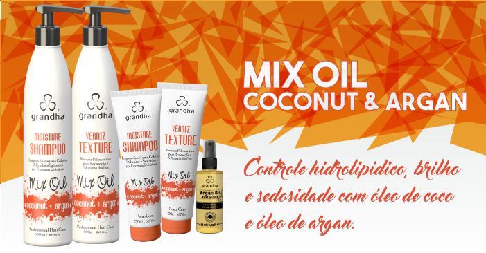 Kit Mix Oil Coconut & Argan da Grandha com óleos de coco e argan para hidratação profunda, mas com leveza e toque aveludado.