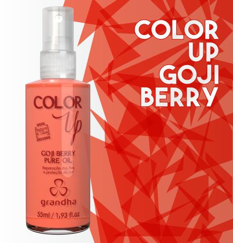 Color Up Goji Berry Pure Oil é um finalizador específico para a preservação da cor em cabelo colorido e cabelo tingido.