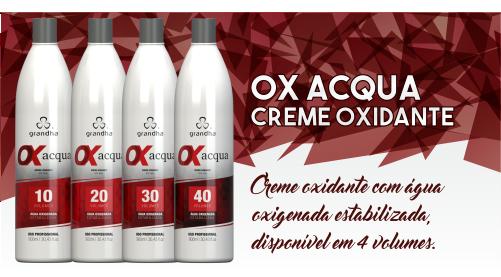 Produtos cosméticos Grandha. Ox Acqua da Grandha, creme oxidante, conhecido como oxigenada para coloração e tintura profissional.