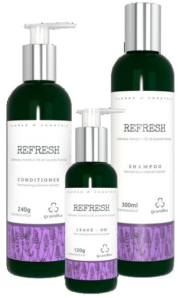 Kit Refresh Flores e Vegetais Grandha para terapia capilar.