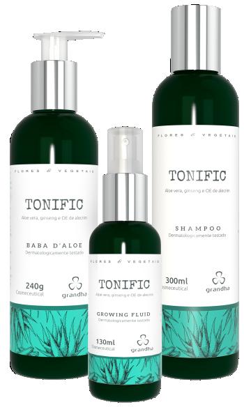 Kit Tonific Flores e Vegetais Grandha para terapia capilar.