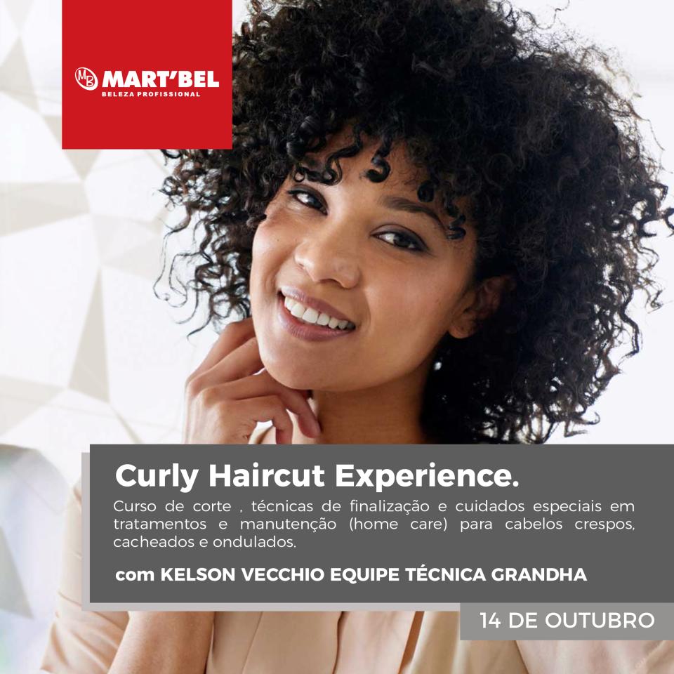 Curly Haircut Experience. Curso de corte, técnicas de finalização e cuidados especiais em tratamentos e manutenção (home care) para cabelos crespos, cacheados e ondulados. Com Kelson Vecchio. 14/10/2019.