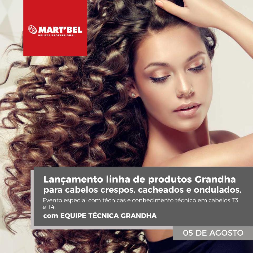 Lançamento linha de produtos Grandha para cabelos crespos, cacheados e ondulados. Evento especial com técnicas e conhecimento técnico em cabelos T3 e T4. 05/08/2019.