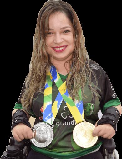 Evani Calado, atleta de bocha paralímpica Grandha.