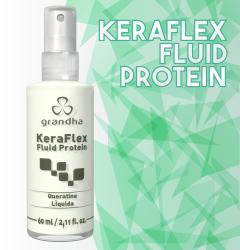 Keraflex Fluid Protein é um finalizador da Grandha com queratina líquida para cabelos quebradiços.