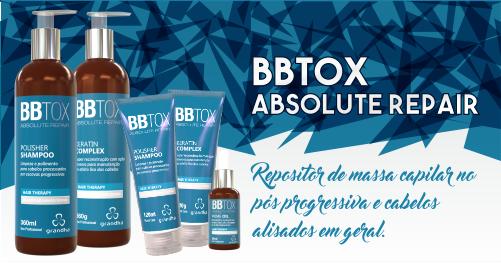 BBtox Absolute Repair é a solução para o cabelo danificado pela escova progressiva ilegal, com os benefícios do ácido hialurônico.
