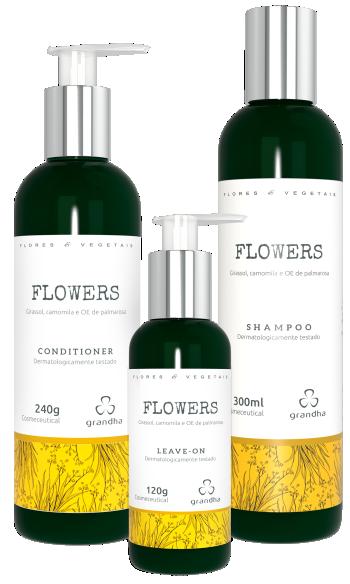 Kit Flowers Flores e Vegetais Grandha para terapia capilar.