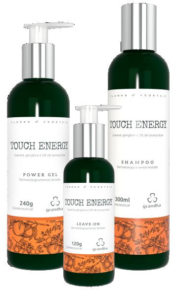 Kit Touch Energy Flores e Vegetais Grandha para terapia capilar.